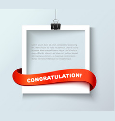 Photo frame banner with red ribbon vector