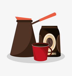 plastic coffee maker with bag of coffee and vector image