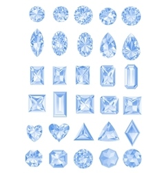 Set of realistic diamonds with different cuts vector image vector image