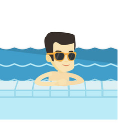 smiling young man in swimming pool vector image vector image