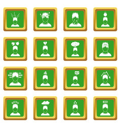 stress icons set green vector image