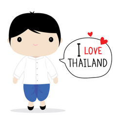 thailand men national dress cartoon vector image