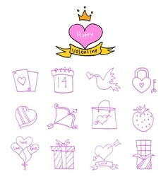 Valentine day icons element collection vector image