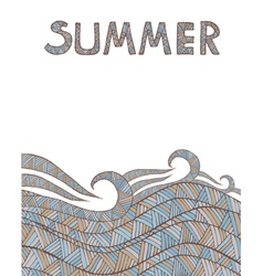 Vintage wave hand-drawn pattern with summer text vector