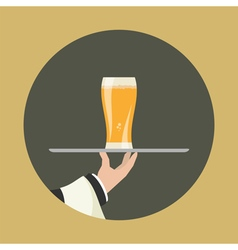 Waiter with glass of beer vector