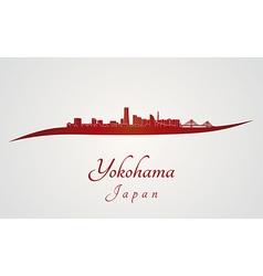 Yokohama skyline in red vector