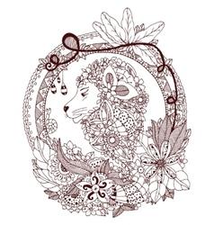 Zen Tangle lion in a circular vector image