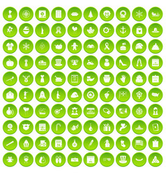 100 national holiday icons set green circle vector