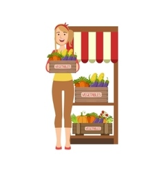 Woman selling farm vegetables on the market vector