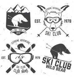 ski club retro badge vector image