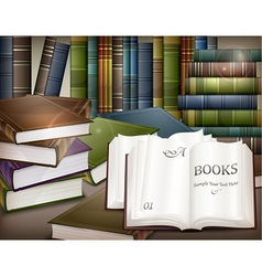 Book stacks on table vector