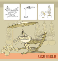 Hammock umbrella and flowers in pot vector