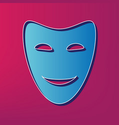 Comedy theatrical masks blue 3d printed vector