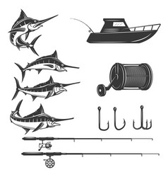 Deep sea design elements isolated on white vector