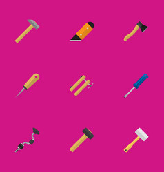 Set of 9 editable equipment flat icons includes vector