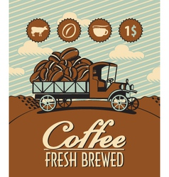 Truck with coffee vector