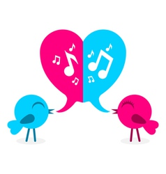 2 love bird with speech bubble in shape of heart vector image vector image
