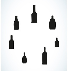 Few different bottles silhouettes vector