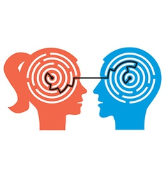 Couple with labyrinth in the heads vector