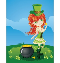 Leprechaun girl on grass field vector