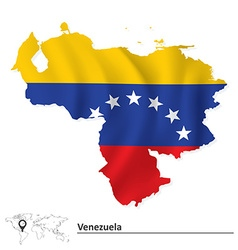 Map of venezuela with flag vector