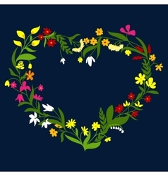 Heart frame with wreath of wildflowers and herbs vector