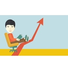 Japanese guy relaxing in growing business vector