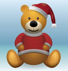 Teddy bear in red sweater red hat vector