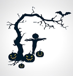 Silhouettes of scarecrow pumpkins bat and tree vector