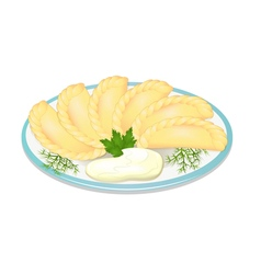 Dumplings with sour cream on the plate vector