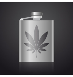 Alcohol silver hip flask with weed symbol eps10 vector