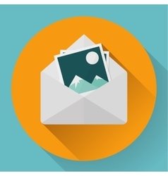 Envelope with photos - flat style concept of new vector
