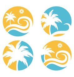 Tropical travel design template with palm tree vector