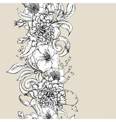 Monochrome seamless border with blooming peony vector image