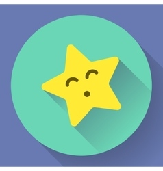 Yellow star with kiss face character vector
