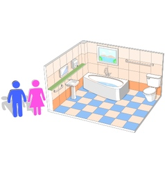 Bathroom interior with 3d facilities vector