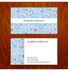 Business card with marine sea sketch hand drawn vector