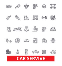 Car service mechanic engine parts wash tires vector
