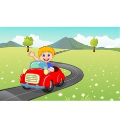 Cartoon boy driving red car vector image