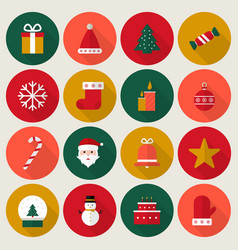 christmas icons flat vector image