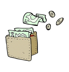Comic cartoon wallet spilling money vector