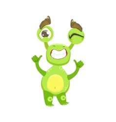 Cool funny monster teethy smile green alien emoji vector