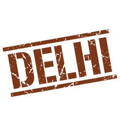 delhi brown square stamp vector image vector image