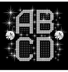 digital diamond alphabet vector image vector image