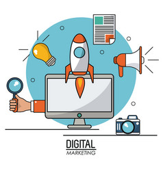 digital marketing computer technology online vector image vector image