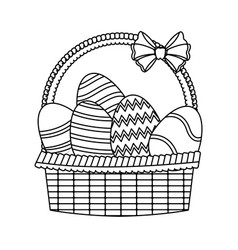 Easter basket with egg decoration party line vector