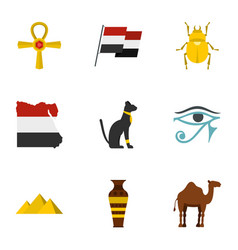 egypt travel icons set cartoon style vector image vector image