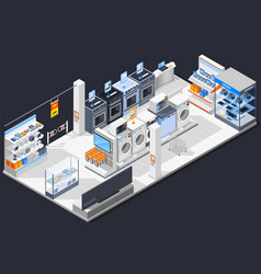 electrical shop isometric composition vector image vector image