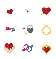 flat icon love set of wings letter heart and vector image