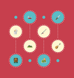 flat icons bag hill fishing and other vector image vector image